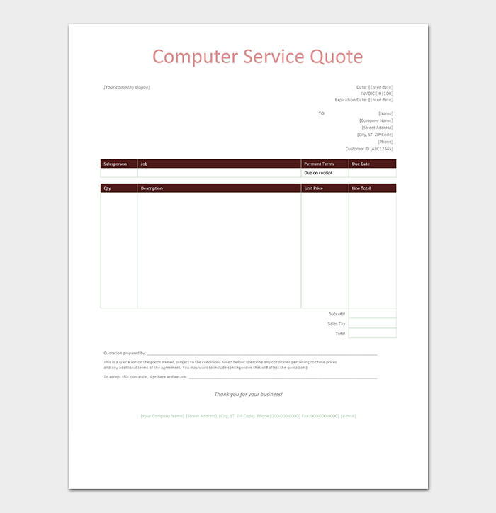 service quote template