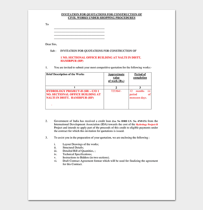 Cover Letter For Construction Labourer: Construction Quotation Template