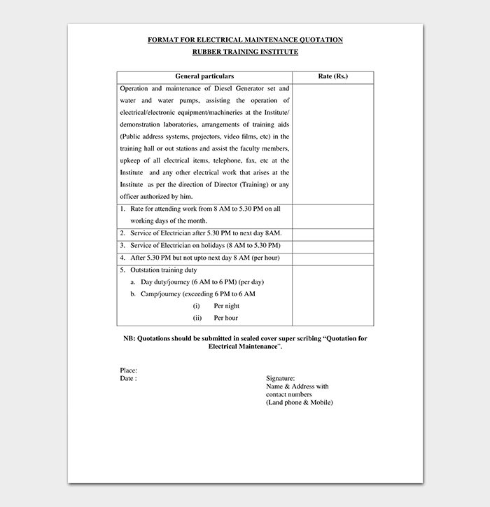 Quotation Format Pdf | Electrical Quotation Template 10 Word Excel Pdf Quote