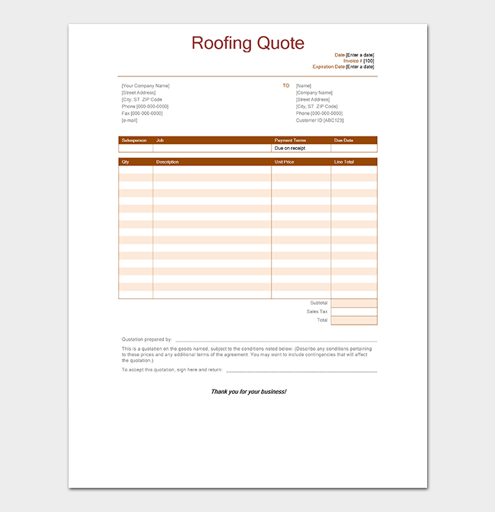 Roofing Quotation Template - 9+ for Word, Excel and PDF on roofing estimate pdf, roof repair estimate form, roof estimate notes, roof estimate example, roof repair estimate samples, roof estimate calculator, catering contract pdf, roofing proposal pdf, roof proposal forms downloadable, roof estimate template,