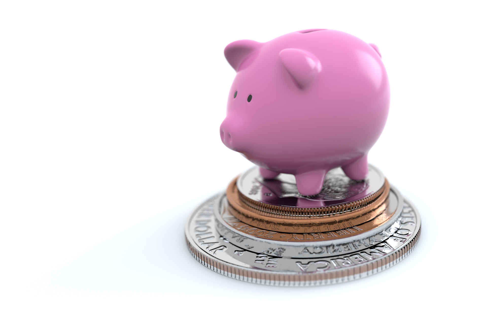 Piggy Bank On Coins Free Image Download