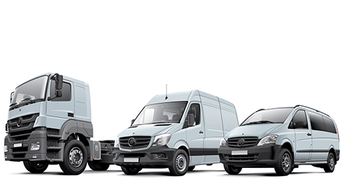 HGV and two vans of different sizes