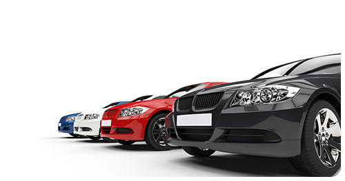 Motor Trade Insurance represented by a row of cars