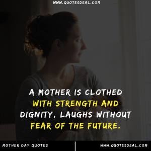 A mother is clothed