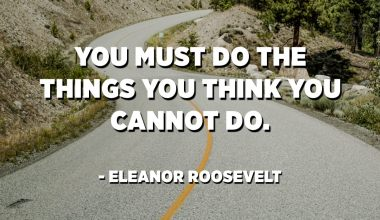 You must do the things you think you cannot do. - Eleanor Roosevelt