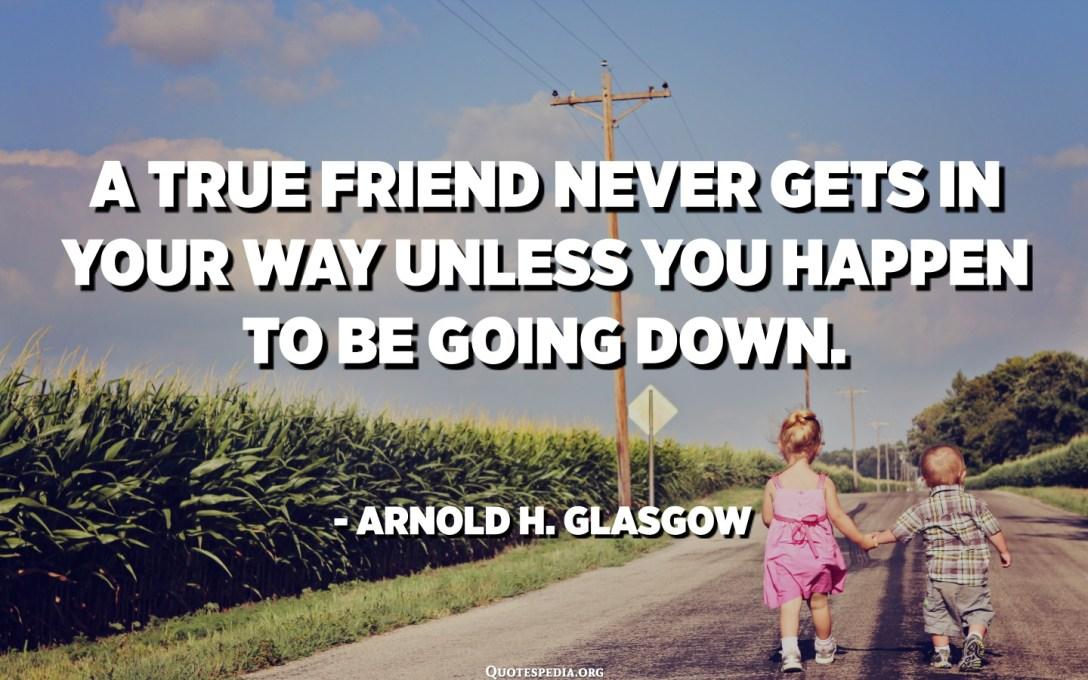 Pravi prijatelj nikad vam ne smeta, osim ako se dogodi da ne idete dolje. - Arnold H. Glasgow