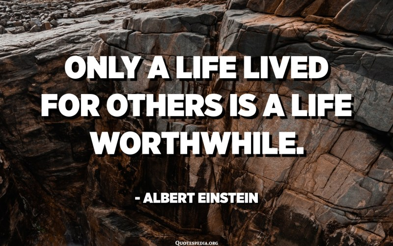 Only a life lived for others is a life worthwhile. - Albert Einstein