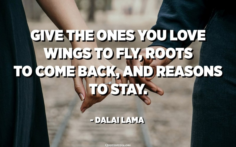 Give the ones you love wings to fly, roots to come back, and reasons to stay. - Dalai Lama