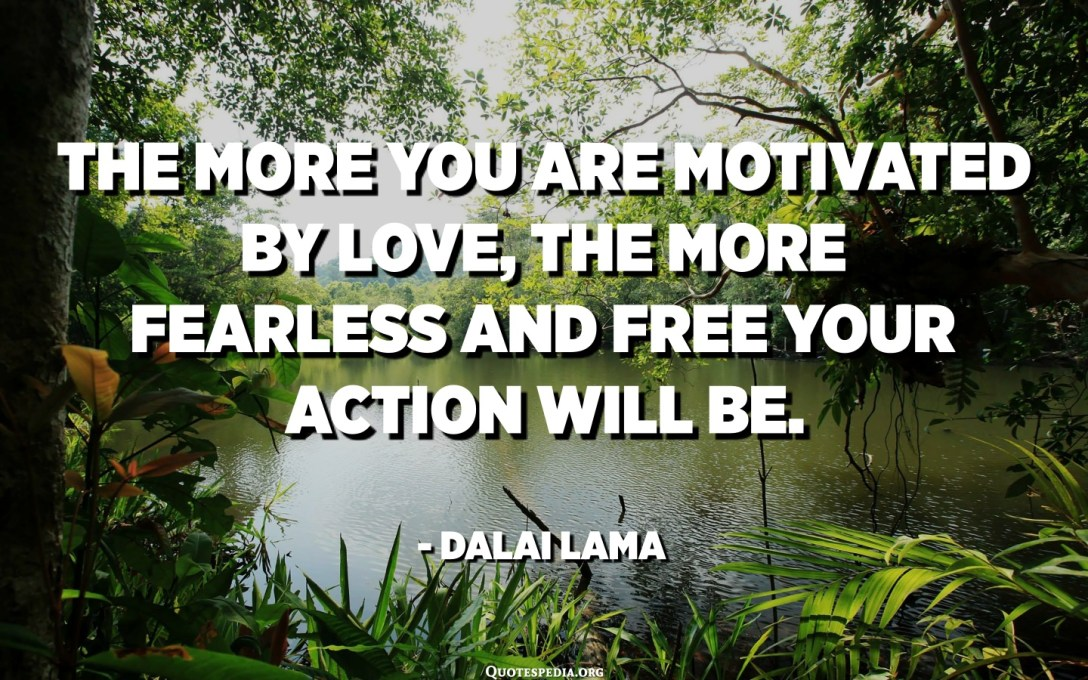 The more you are motivated by love, the more fearless and free your action will be. - Dalai Lama