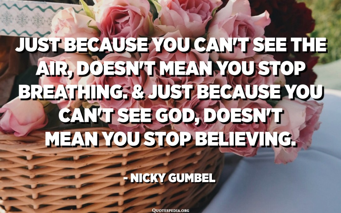 Just because you can't see the air, doesn't mean you stop breathing. And just because you can't see God, doesn't mean you stop believing. - Nicky Gumbel