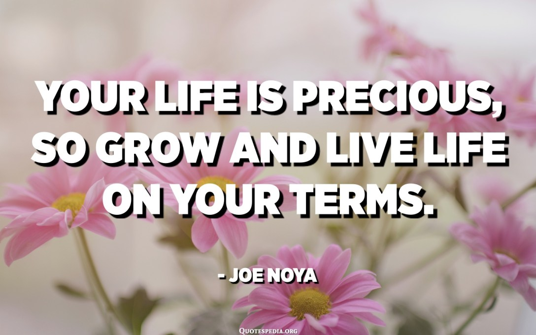 Your life is precious, so grow and live life on your terms. - Joe Noya