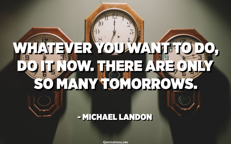 Whatever you want to do, do it now. There are only so many tomorrows. - Michael Landon