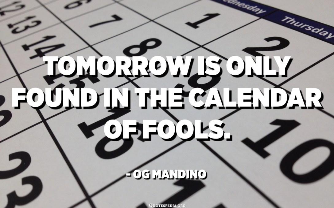 Demain ne se trouve que dans le calendrier des imbéciles. - Og Mandino