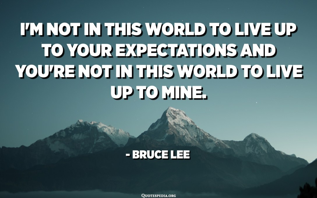 I'm not in this world to live up to your expectations and you're not in this world to live up to mine. - Bruce Lee