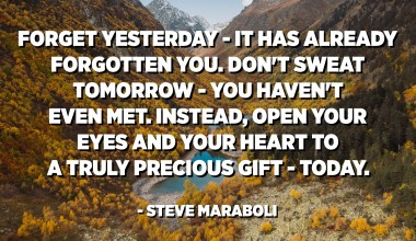 Forget yesterday - it has already forgotten you. Don't sweat tomorrow - you haven't even met. Instead, open your eyes and your heart to a truly precious gift - today. - Steve Maraboli