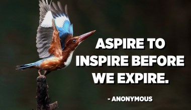 Aspire to inspire before we expire. - Anonymous