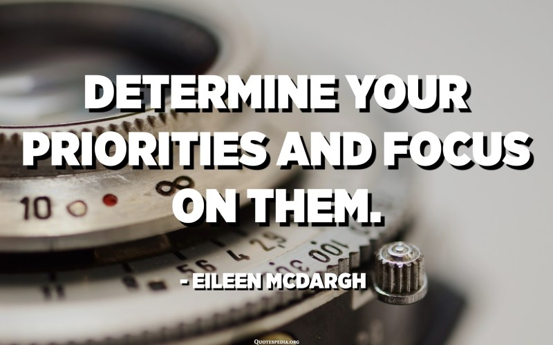 Determine your priorities and focus on them. - Eileen McDargh