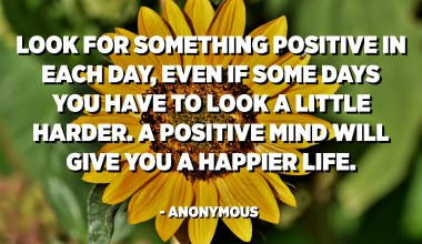 Look for something positive in each day, even if some days you have to look a little harder. A positive mind will give you a happier life. - Anonymous