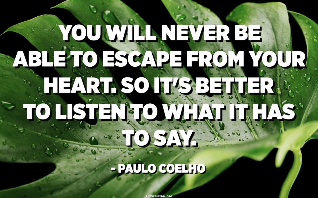 You will never be able to escape from your heart. So it's better to listen to what it has to say. - Paulo Coelho, The Alchemist
