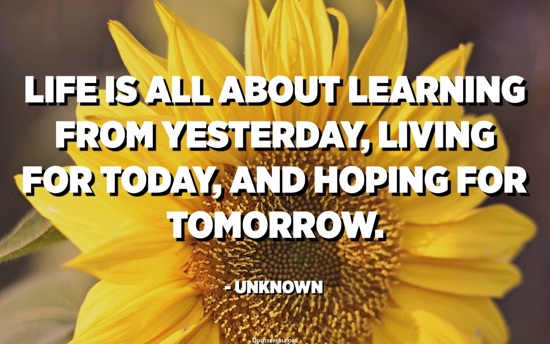 Life is all about learning from yesterday, living for today, and hoping for tomorrow. - Unknown