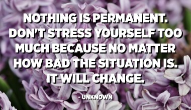 Nothing is permanent. Don't stress yourself too much because no matter how bad the situation is. It will change. - Unknown