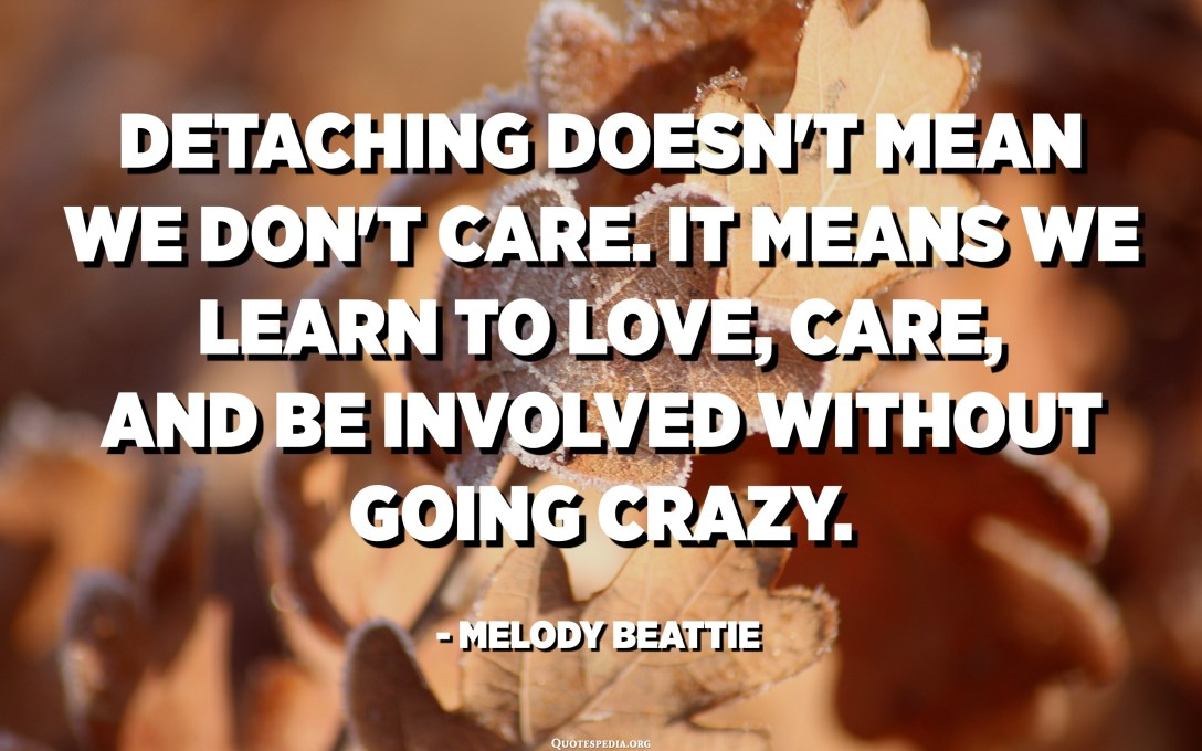 Detaching doesn't mean we don't care. It means we learn to love, care, and be involved without going crazy. - Melody Beattie