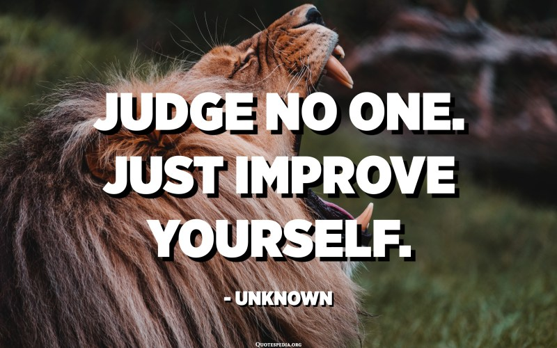 Judge no one. Just improve yourself. - Unknown