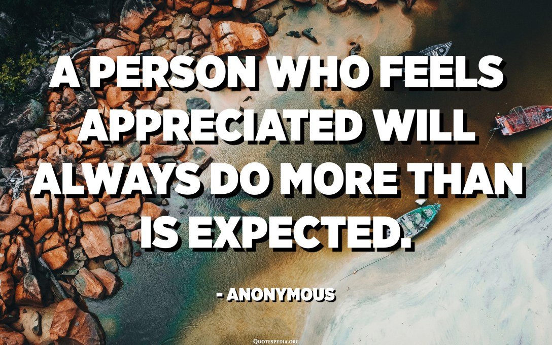A person who feels appreciated will always do more than is expected. - Anonymous
