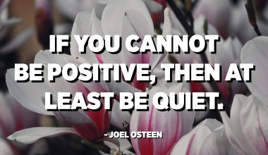If you cannot be positive, then at least be quiet. - Joel Osteen