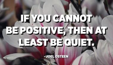 Si no podeu ser positiu, almenys estigueu tranquils. - Joel Osteen