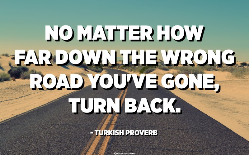 No matter how far down the wrong road you've gone, turn back. - Turkish Proverb