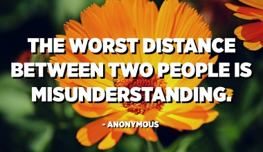 The worst distance between two people is misunderstanding. - Anonymous