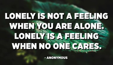 Lonely is not a feeling when you are alone. Lonely is a feeling when no one cares. - Anonymous
