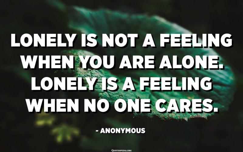 El solitari no és un sentiment quan estàs sol. El solitari és un sentiment quan a ningú li importa. - Anònim