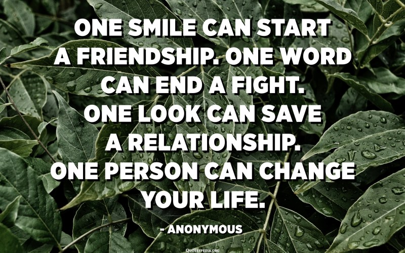 One smile can start a friendship. One word can end a fight. One look can save a relationship. One person can change your life. - Anonymous