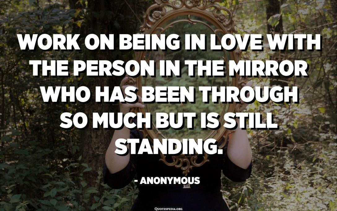Trabalhe para se apaixonar pela pessoa no espelho que passou por tanta coisa, mas ainda está de pé. - Anônimo