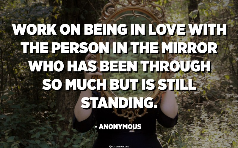 Work on being in love with the person in the mirror who has been through so much but is still standing. - Anonymous