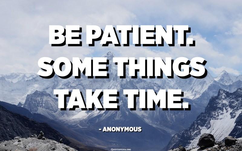 Sois patient. Certaines choses prennent du temps. - Anonyme