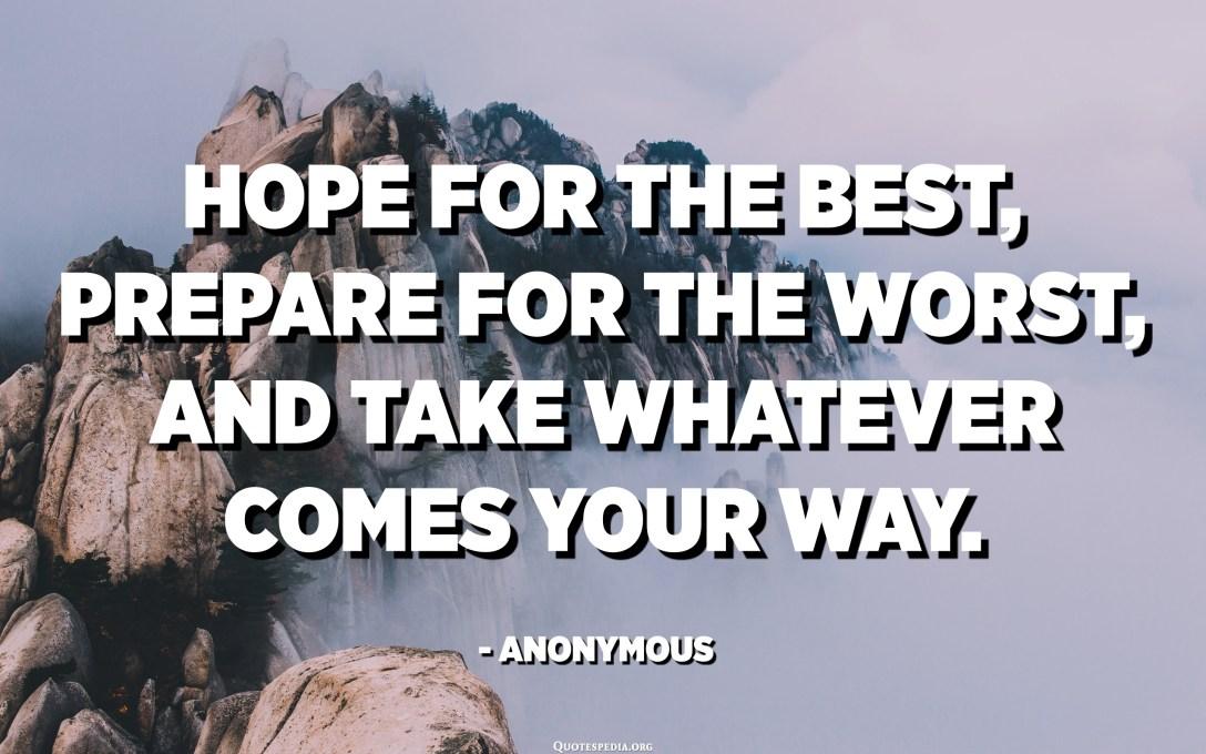 امیدوارم بهترین ها را داشته باشید ، برای بدترین وضعیت آماده شوید و هر کاری را که می گذرد پیش بگیرید. - ناشناس
