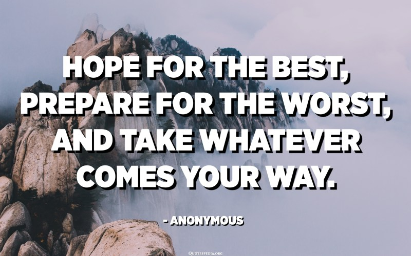 Hope for the best, prepare for the worst, and take whatever comes your way. - Anonymous