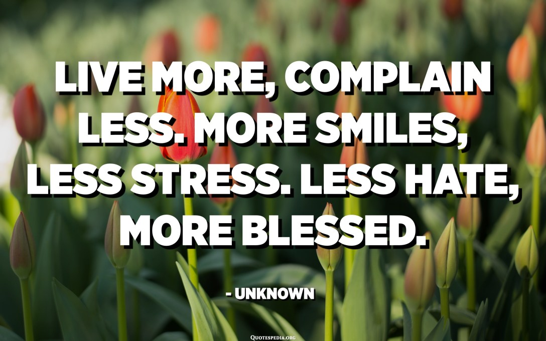 Live more, complain less. More smiles, less stress. Less hate, more blessed. - Unknown