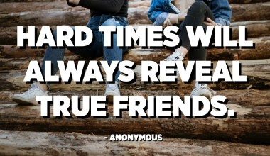 Hard times will always reveal true friends. - Anonymous