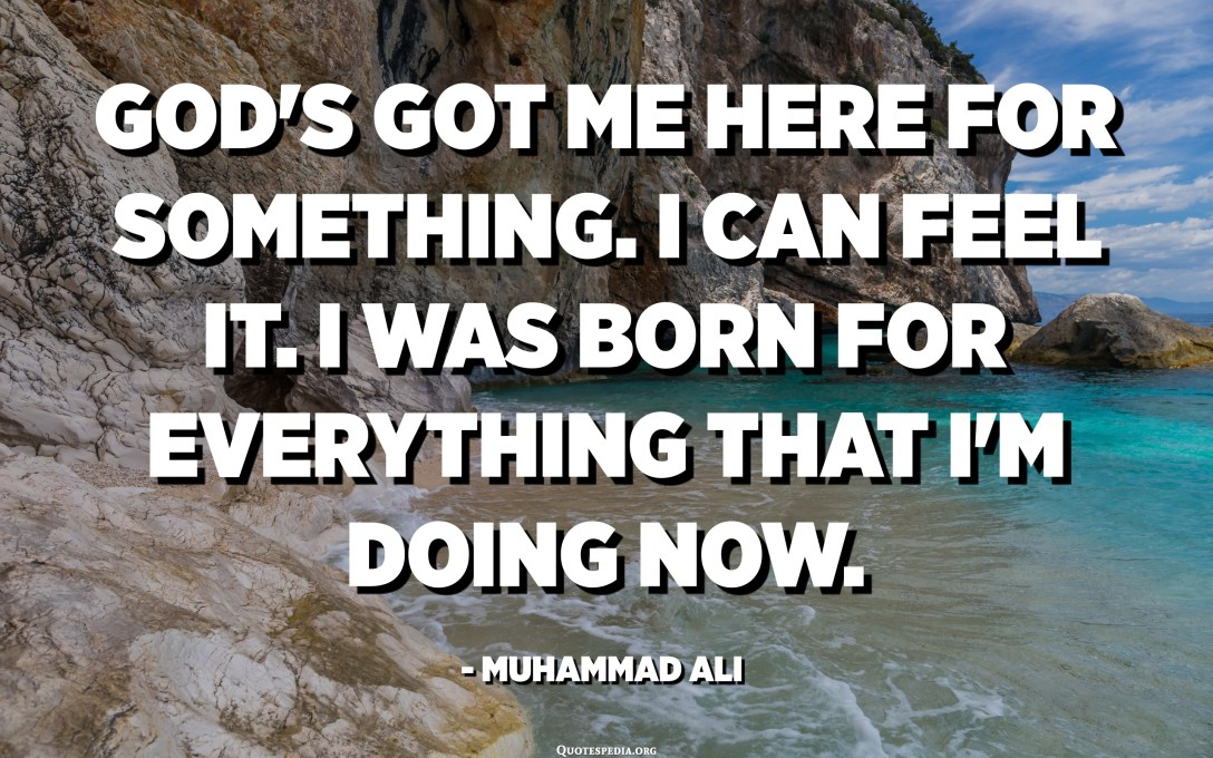 God's got me here for something. I can feel it. I was born for everything that I'm doing now. - Muhammad Ali