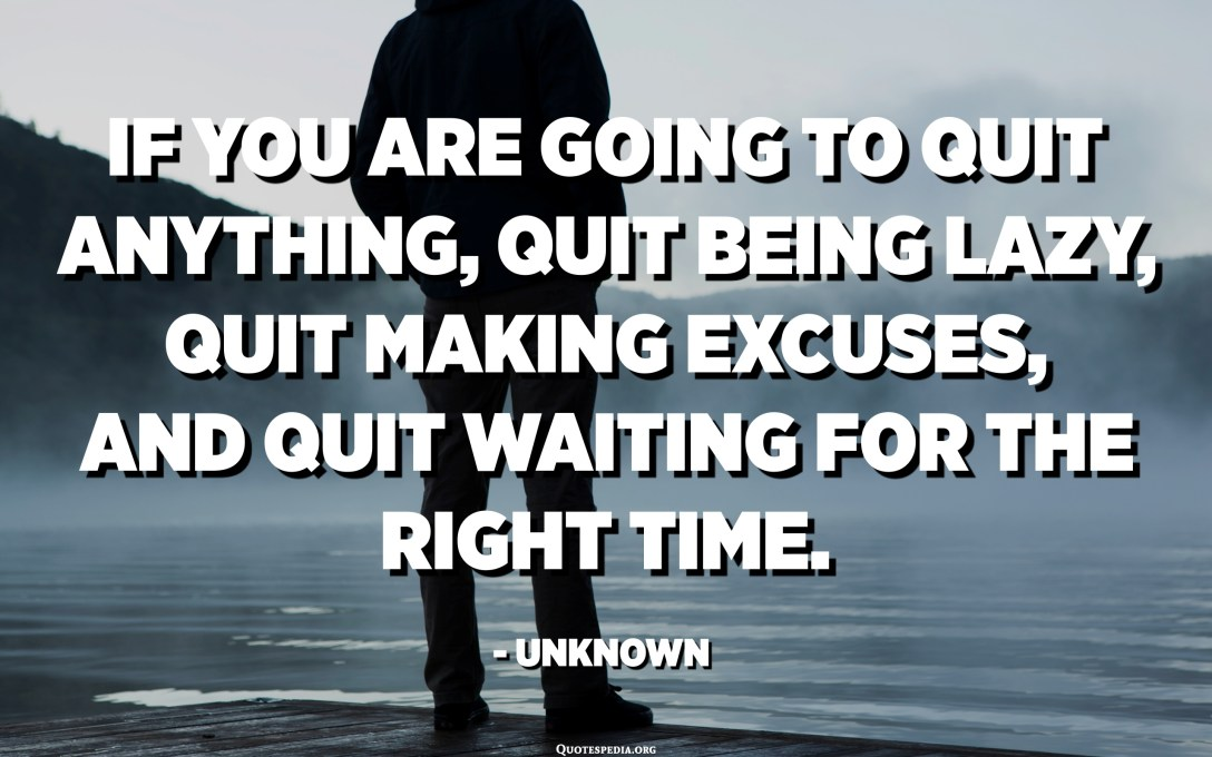 If you are going to quit anything, quit being lazy, quit making excuses, and quit waiting for the right time. - Unknown