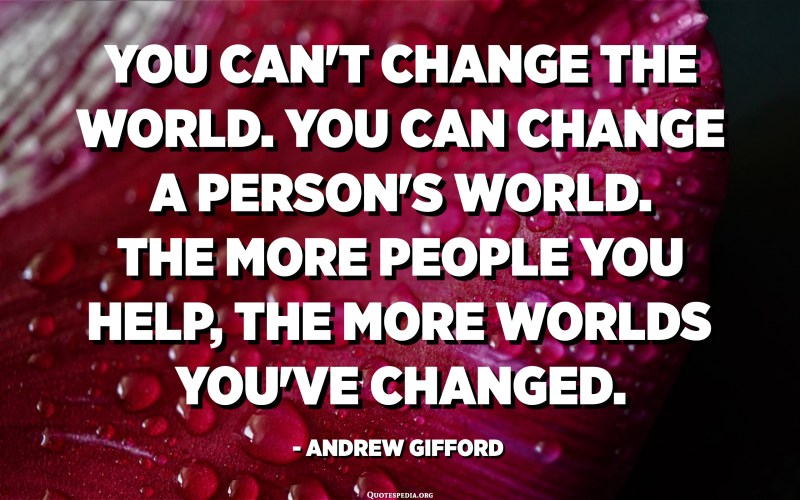 You can't change the world. You can change a person's world. The more people you help, the more worlds you've changed. - Andrew Gifford