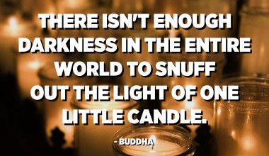 There isn't enough darkness in the entire world to snuff out the light of one little candle. - Buddha