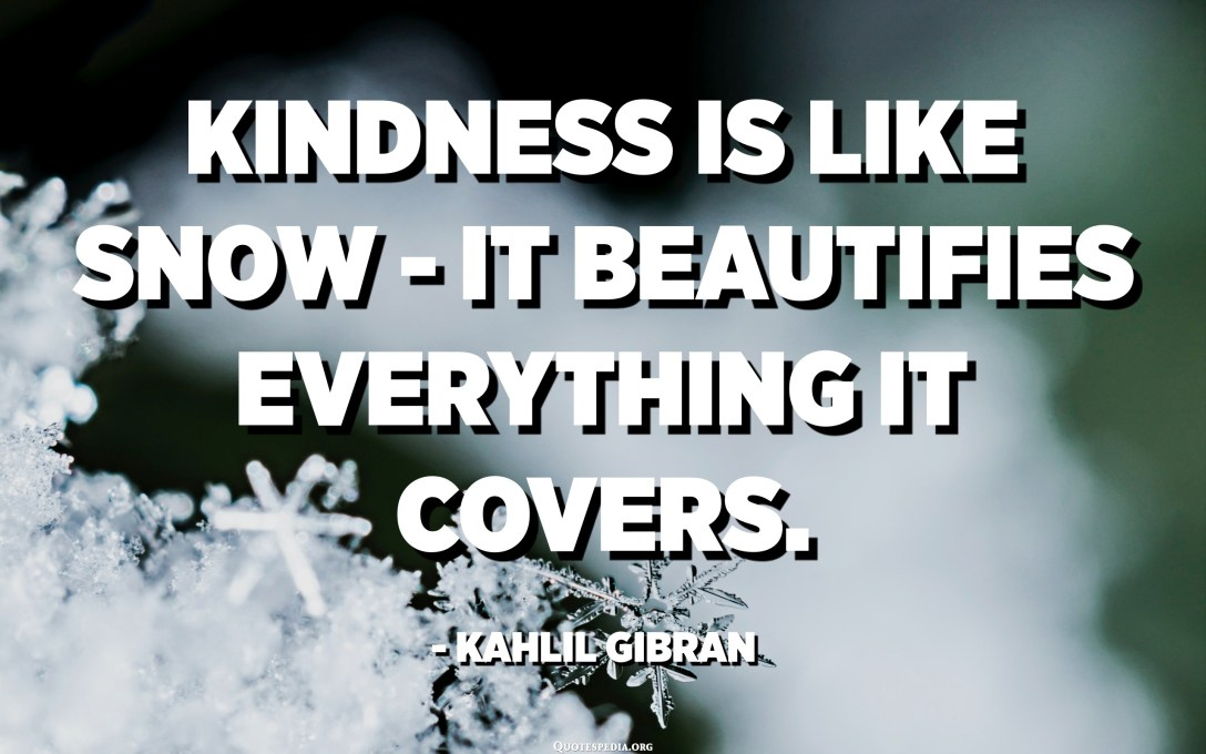 Kindness is like snow - It beautifies everything it covers. - Kahlil Gibran