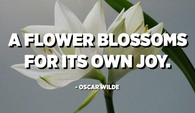 تزهر زهرة لفرحها. - أوسكار وايلد