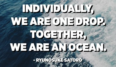 Individually, we are one drop. Together, we are an ocean. - Ryunosuke Satoro