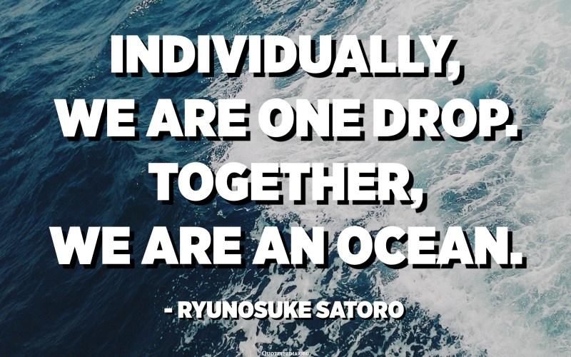 Individually, we are one drop. Together, we are an ocean. - Ryunosuke Satoro